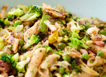 Canutos con salsa de brócoli